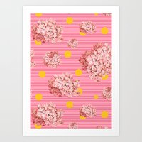 hydrangea spots and stripes Art Print