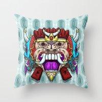 Greed Barong Mask Throw Pillow