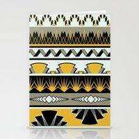 art deco stripes - honey Stationery Cards