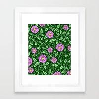 Forest Green Floral Framed Art Print