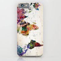 world map iPhone & iPod Cases featuring map by mark ashkenazi