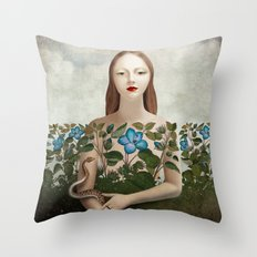 Eva and the Garden  Throw Pillow