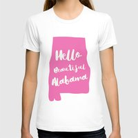 Hello Beautiful Alabama Womens Fitted Tee White SMALL