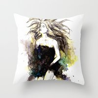 Watercolor Girl Throw Pillow