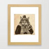 Mustache Cat Framed Art Print