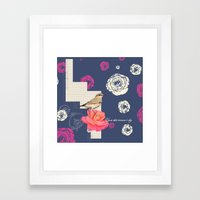 Upon this Summers Day - Navy Framed Art Print