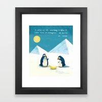 Penguins and bananas Framed Art Print