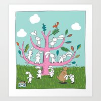 rabbit moves Art Print
