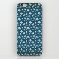 White stars on grunge textured blue background iPhone & iPod Skin