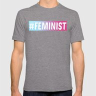 #FEMINIST Mens Fitted Tee Tri-Grey SMALL