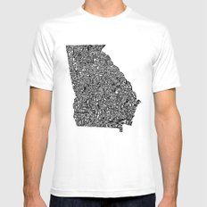 Typographic Georgia White SMALL Mens Fitted Tee
