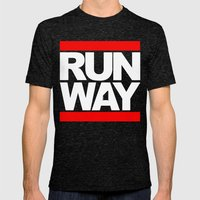 RUNWAY Mens Fitted Tee Tri-Black SMALL