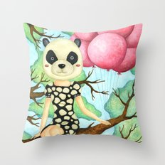 Panda Girl Throw Pillow