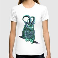 Great Horned Owl Womens Fitted Tee White SMALL