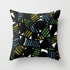 Black, blue, green and yellow Throw Pillow