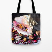 Maritime Symphony  with Sea Shells and Roses Tote Bag