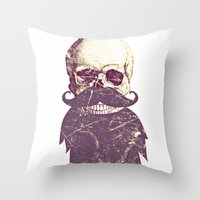 Beard Skull 3 Throw Pillow