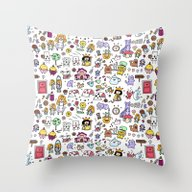 Alice In Doodleland Throw Pillow
