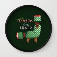 Christmas Crackers About Alpacas! Wall Clock