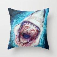 Throw Pillow featuring Wild Shark by Beart24