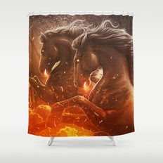 Fire with Horses Shower Curtain