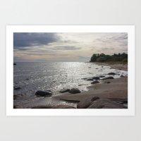 Seascape with stones Art Print