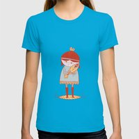 Girl Holding A Bird Womens Fitted Tee Teal SMALL