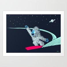 Yeti Surfing Art Print