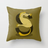 Throw Pillow featuring Monogram S Pony by Mailboxdisco