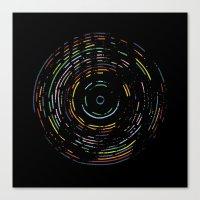 Rainbow Record On Black Canvas Print