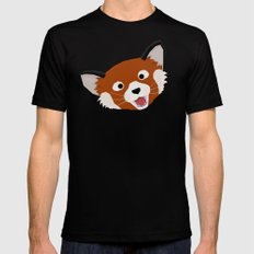 Red Panda Face Black SMALL Mens Fitted Tee