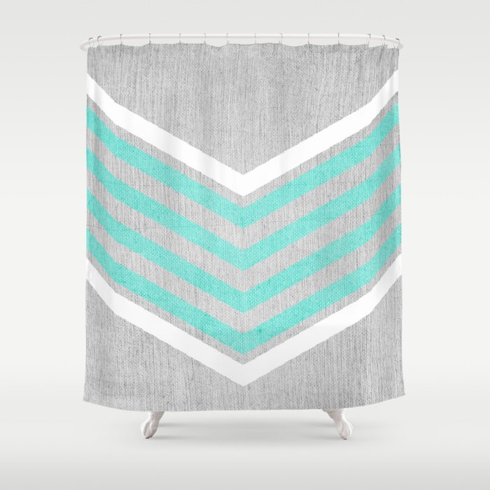 Teal And White Chevron On Silver Grey Wood Shower Curtain