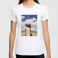 Cloudy Horse Head Womens Fitted Tee Ash Grey SMALL