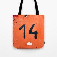 Orange Number Fourteen Tote Bag