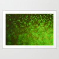 Big Green Bokeh Art Print