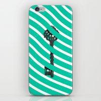 Teal White Zig Zag Stripes Pattern Black Wood Key iPhone & iPod Skin