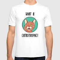 Catastrophe Cat Mens Fitted Tee White SMALL