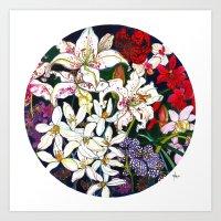 Lilies & Orchids Art Print