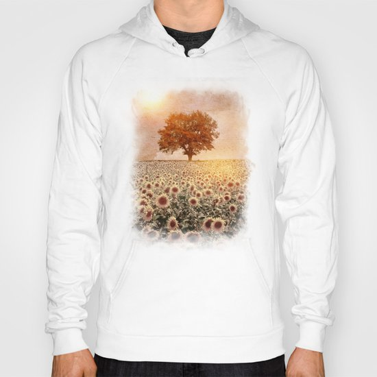 lone tree & sunflowers field (colour option) Hoody