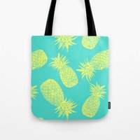 Pineapple Pattern - Turquoise & Lemon Tote Bag