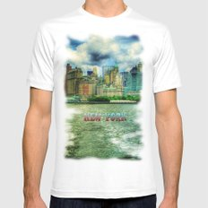New York White Mens Fitted Tee SMALL