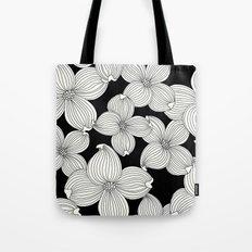 Dogwood Floral Linear: Ivory on Black  Tote Bag