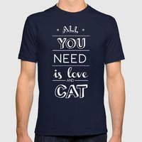 All you need is love and cat! Mens Fitted Tee Navy SMALL
