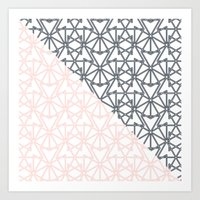 Black and Pink Crop Symmetry Art Print