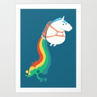 Fat Unicorn On Rainbow J… Art Print