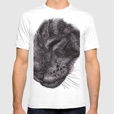 Cat illustration Mens Fitted Tee SMALL White