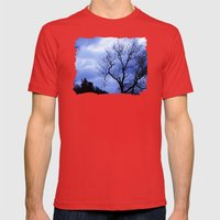 Blue Trees  - JUSTART © Mens Fitted Tee Red SMALL