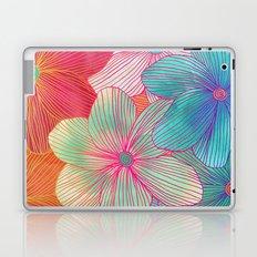 Between the Lines - tropical flowers in pink, orange, blue & mint Laptop & iPad Skin