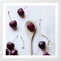 Cherry On A Spoon Art Print