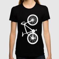 Mountain Bike Orange Womens Fitted Tee Black SMALL